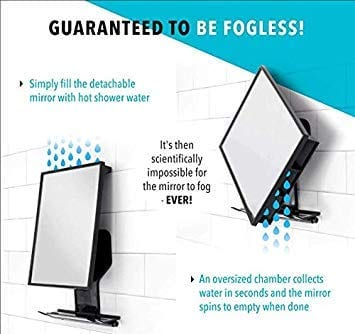 Fogless Shower Mirror with Squeegeen size