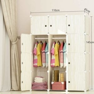 MEGAFUTURE Wood Pattern Portable Wardrobe Closet size image