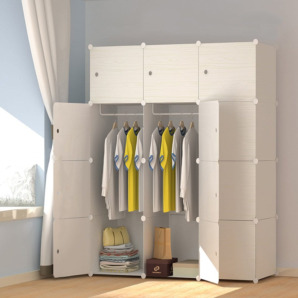 MEGAFUTURE Wood Pattern Portable Wardrobe Closet